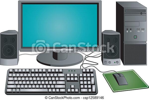 számítógép, állhatatos - csp12589146