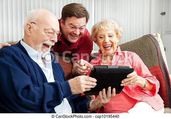 számítógép, alkalmaz, nevet, tabletta, család - csp10195440