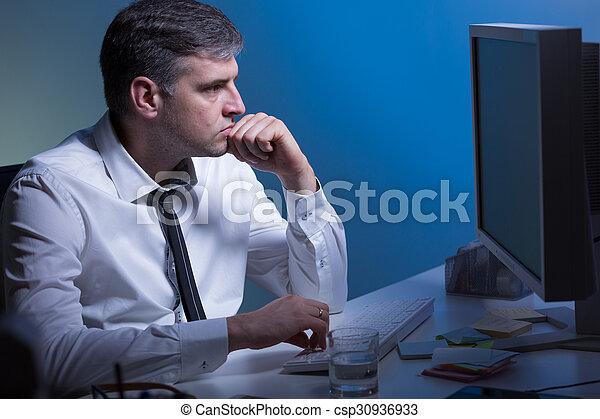 számítógép, dolgozó - csp30936933