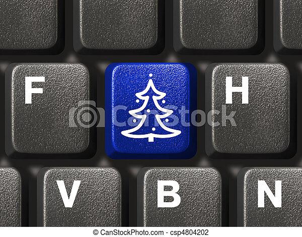 számítógép, fa, karácsony, kulcs, billentyűzet - csp4804202
