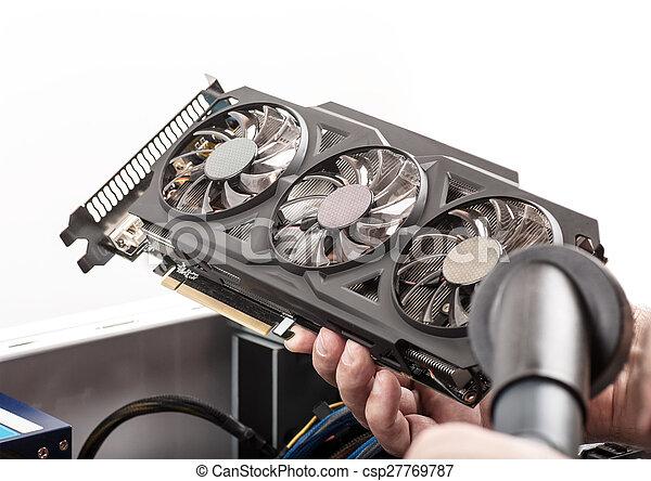 számítógép, video, takarítás, kártya - csp27769787