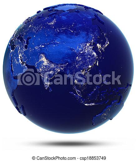 szárazföld, ázsia, országok - csp18853749