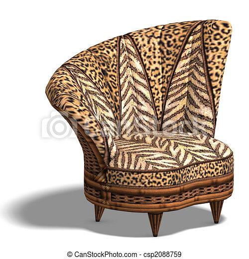 Szék, tervezés, kényelmes, afrikai. Darabka, render, pamlag