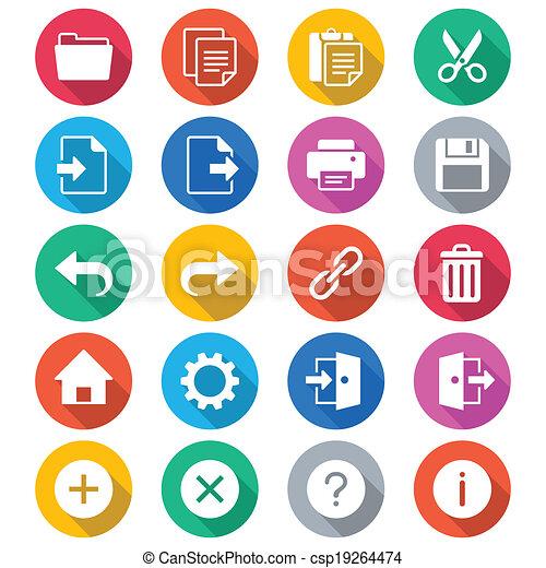 szín, alkalmazás, lakás, toolbar, ikonok - csp19264474