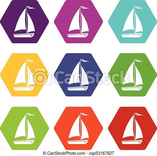 szín, hexahedron, állhatatos, csónakázik, ikon - csp53167627
