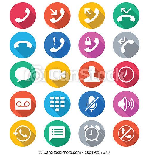 szín, lakás, telefon, ikonok - csp19257670