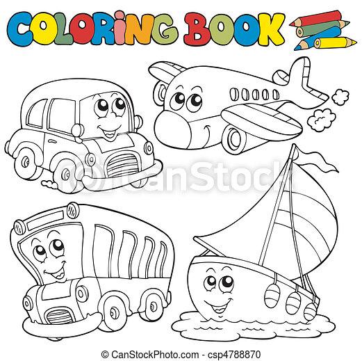 színezés, különféle, könyv, jármű - csp4788870
