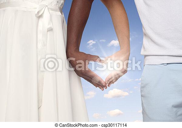 szív alakzat, alakítás, párosít, együtt, kézbesít - csp30117114
