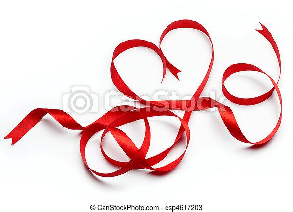 szív alakzat, piros szalag - csp4617203