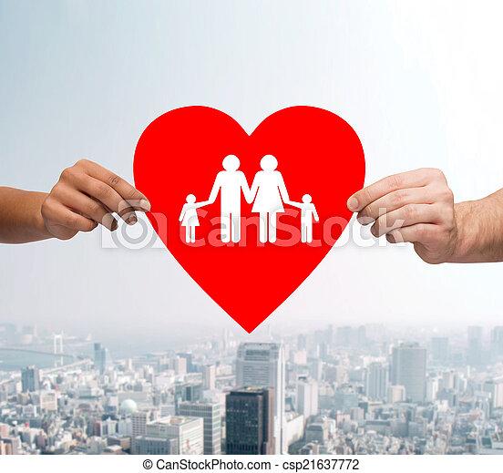 szív, család, párosít hatalom kezezés, piros - csp21637772