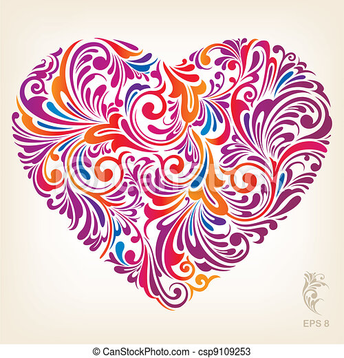 szív, díszítő, színezett, motívum - csp9109253
