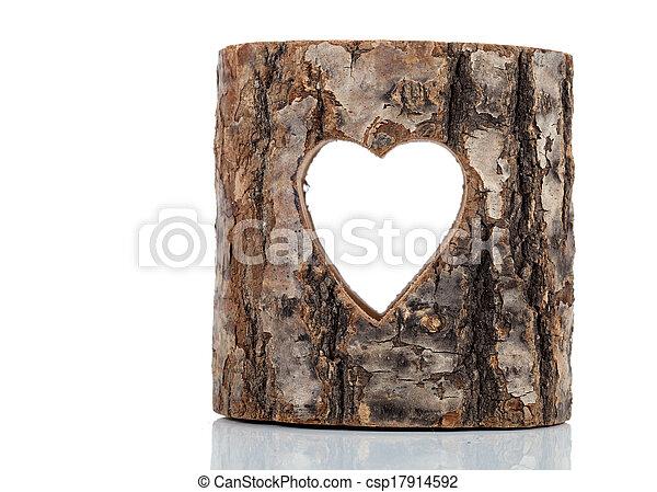 szív, elvág, fa, beesett, háttér, fehér, trunk. - csp17914592