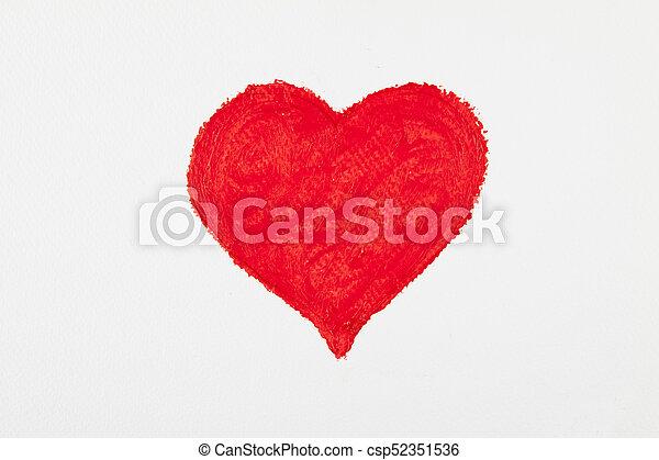 szív, nagy, felett, háttér., fehér, festmény, piros - csp52351536