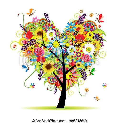 szív, nyár, virágos, fa, alakít - csp5318640