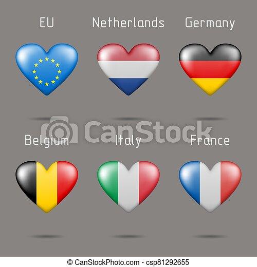 szív, zászlók, alakú, európai - csp81292655