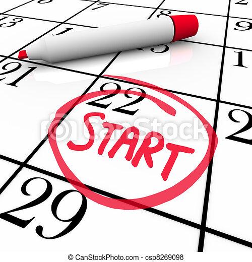 szó, elindít, bekerített, dátum, naptár, elindítás, nap, könyvjelző - csp8269098
