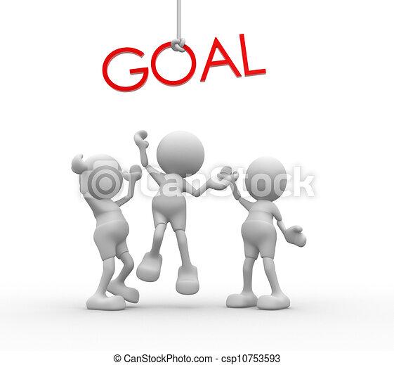 """szó, emberek, -, """"goal"""", férfiak, személy, piros, 3 - csp10753593"""