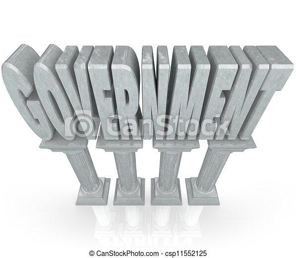 szó, erő, kormány, intézmény, márvány, oszlop - csp11552125