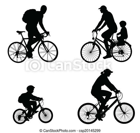 szórakozási, árnykép, biciklisták - csp20145299