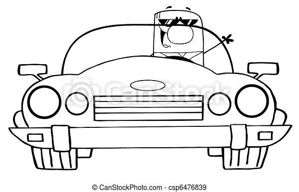 szórakozottan firkálgat, körvonalazott, karikatúra, üzletember - csp6476839
