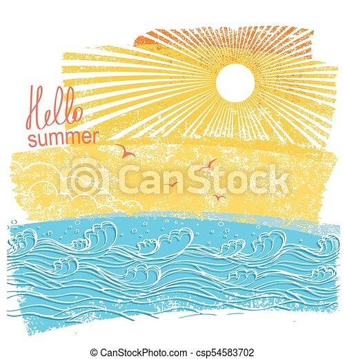 szöveg, ábra, vektor, sun., tenger, lenget, táj - csp54583702