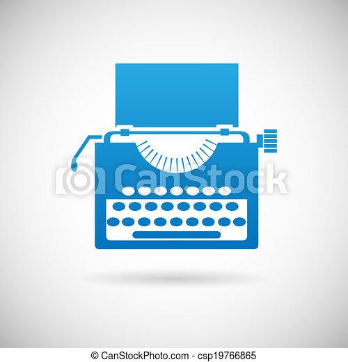 szüret, jelkép, kreativitás, ábra, vektor, tervezés, retro, sablon, ikon, írógép - csp19766865