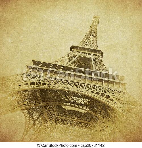 szüret, kép, eiffel, párizs, franciaország, bástya - csp20781142