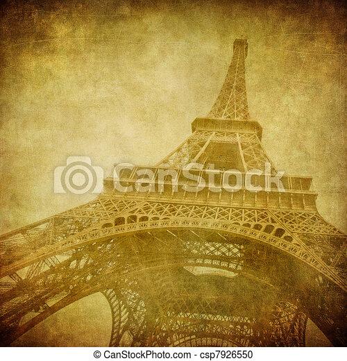 szüret, kép, eiffel, párizs, franciaország, bástya - csp7926550