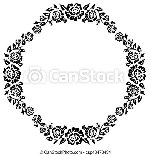 szüret, keret, fekete, körvonal, agancsrózsák - csp43473434