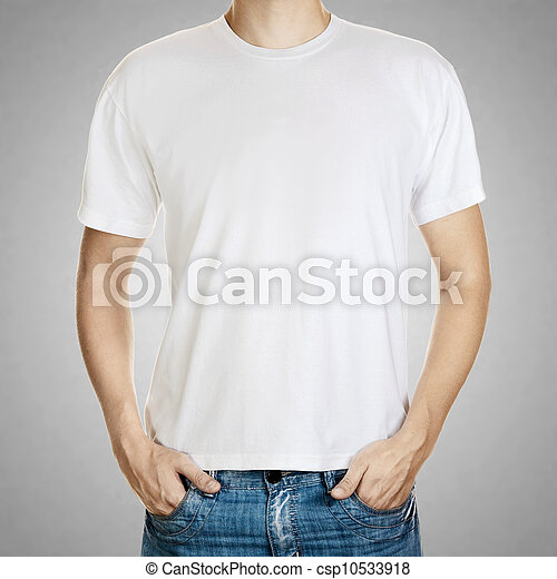 szürke, sablon, fiatal, póló, háttér, fehér, ember - csp10533918