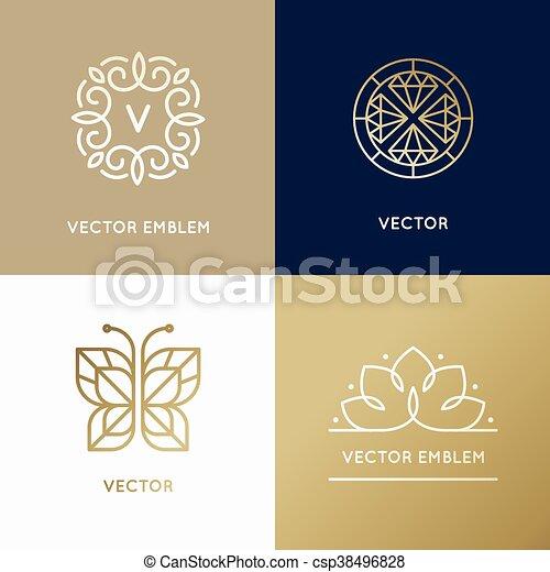 szablony, złoty, styl, linearny, abstrakcyjny, nowoczesny, kolor, wektor, projektować, modny, logo - csp38496828