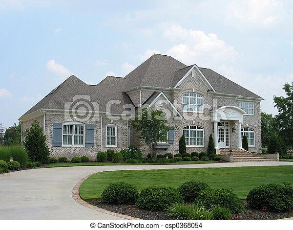 szary, ceglany dom - csp0368054