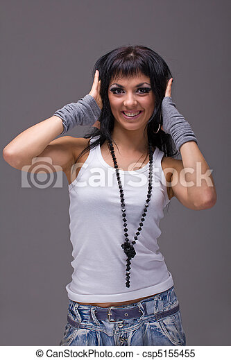 szary, uśmiechnięta kobieta, tło - csp5155455