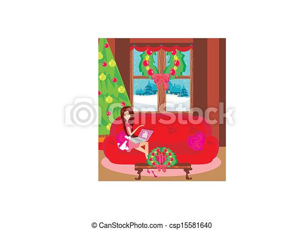 szczęśliwa kobieta, shopping online - csp15581640