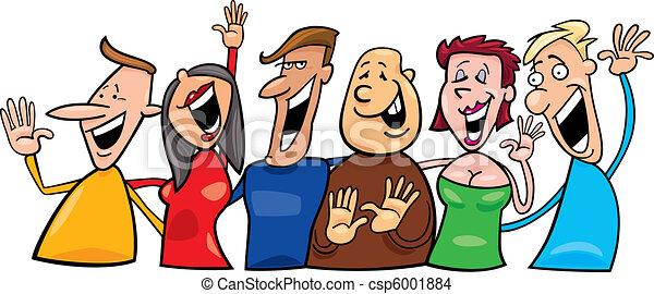 szczęśliwy, grupa, ludzie - csp6001884