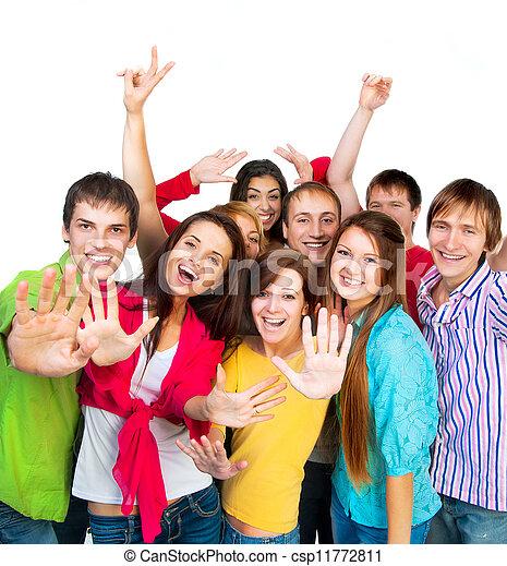 szczęśliwy, grupa, młodzież - csp11772811