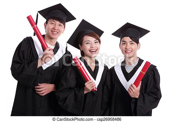 szczęśliwy, grupa, student, absolwenci - csp26958486