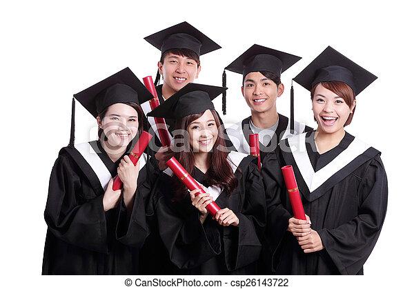 szczęśliwy, grupa, student, absolwenci - csp26143722