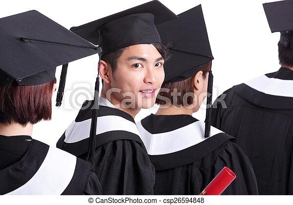szczęśliwy, grupa, student, absolwenci - csp26594848