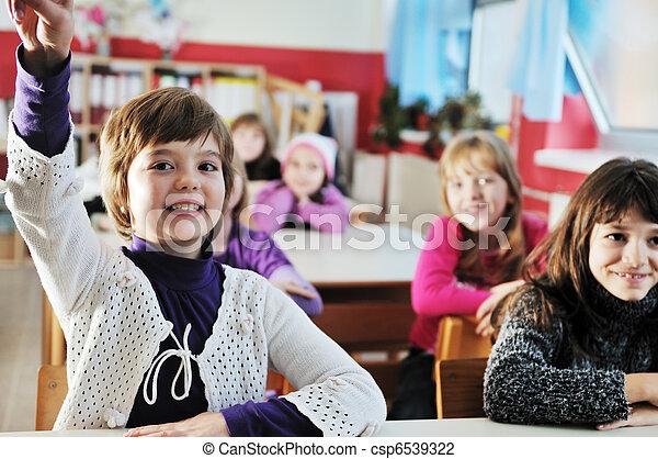 szczęśliwy, nauczyciel, klasa, dzieciaki, szkoła - csp6539322