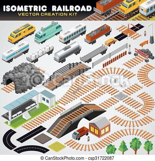 szczegółowy, isometric, train., ilustracja, popędzać, 3d - csp31722087