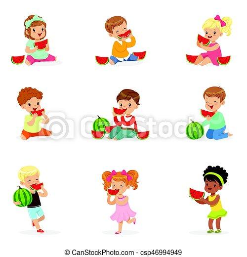 Szczegolowy Sprytny Maly Dzieciska Jedzenie Barwny Zdrowe Jedzenie Children Udzial Ilustracje Rysunek Watermelon