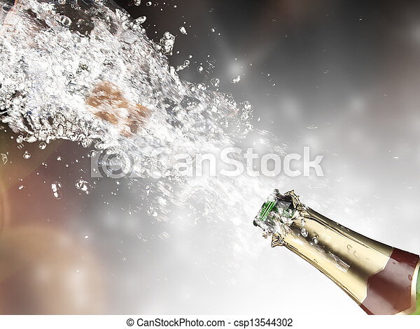 szczelnie-do góry, szampan, wybuch - csp13544302