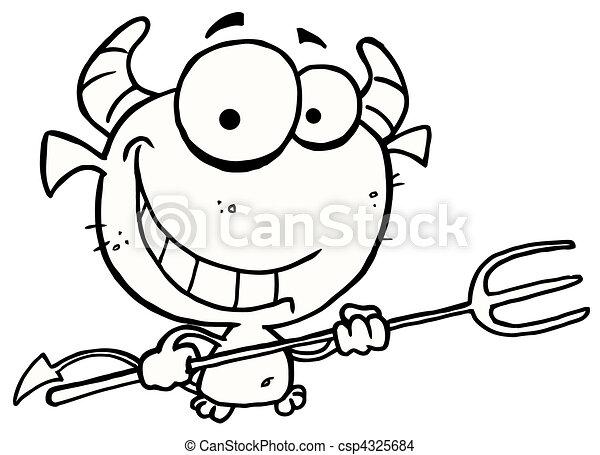 szczerzenie zębów, konturowany, diabeł - csp4325684