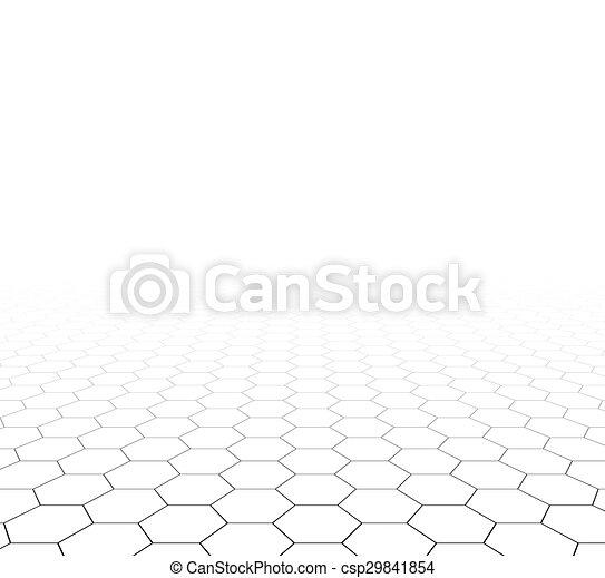 sześciokątny, ruszt, perspektywa, surface. - csp29841854