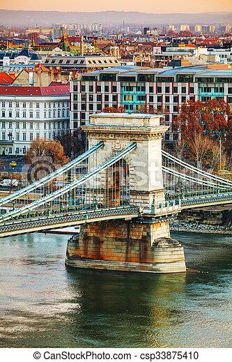 Szechenyi Chain Bridge in Budapest, Hungary - csp33875410