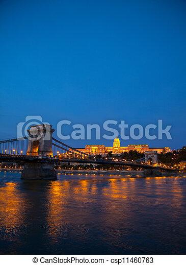 Szechenyi chain bridge in Budapest, Hungary - csp11460763