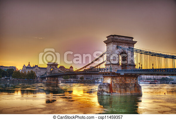 Szechenyi chain bridge in Budapest, Hungary - csp11459357
