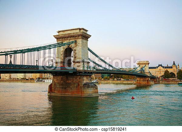 Szechenyi chain bridge in Budapest, Hungary - csp15819241