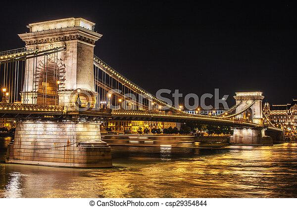 Szechenyi Chain Bridge in Budapest - csp29354844